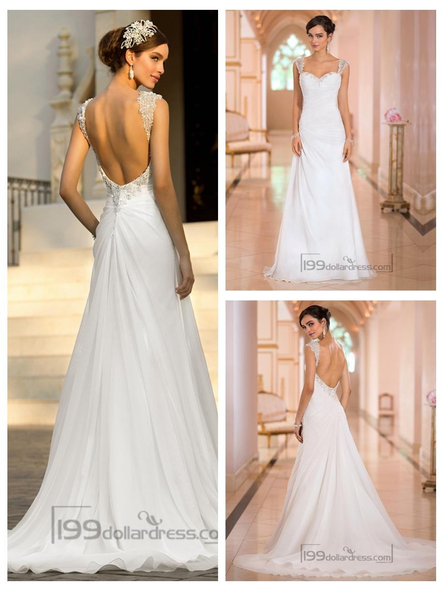 Beaded Cap Sleeves Sweetheart A Line Simple Wedding Dresses With Low