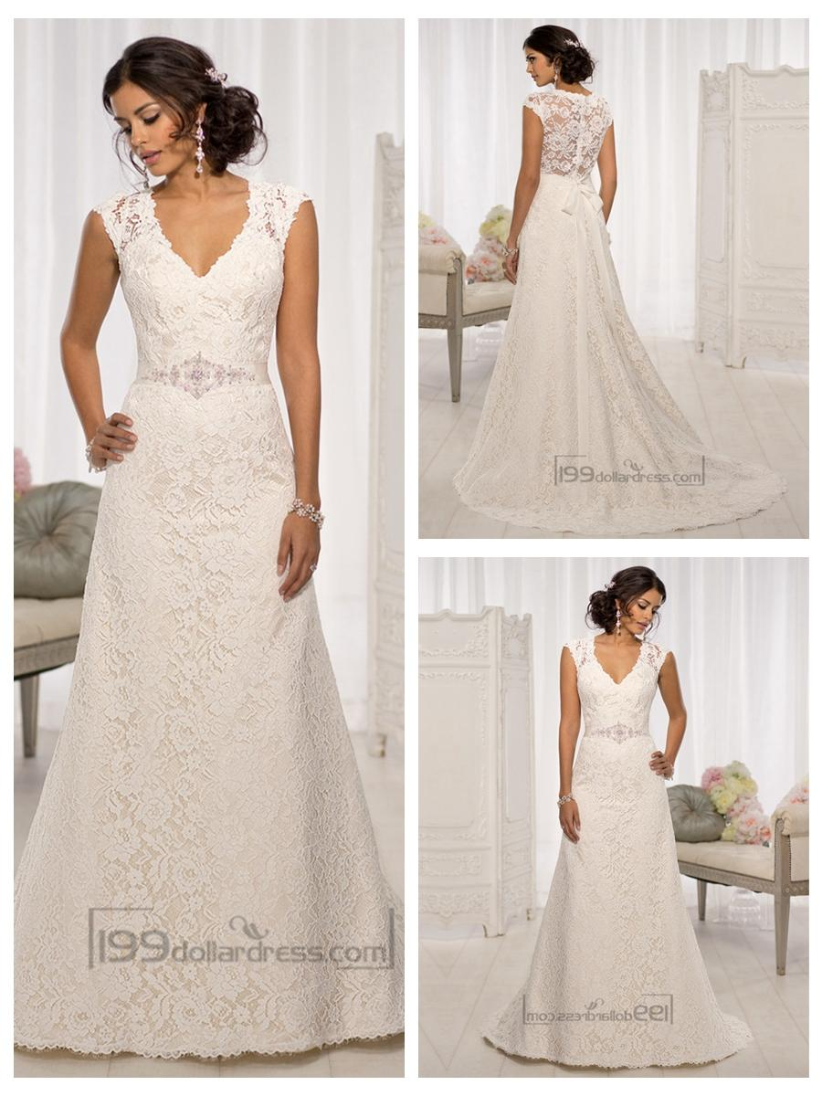 Wedding - Elegant Cap Sleeves V-neck A-line Wedding Dresses with Illusion Back