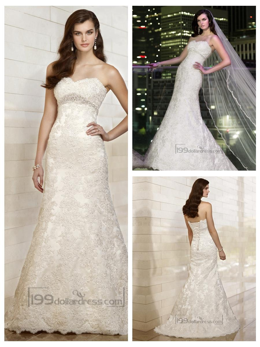 Mariage - Sweetheart A-line Beading Lace Appliques Wedding Dresses with Beading Belt