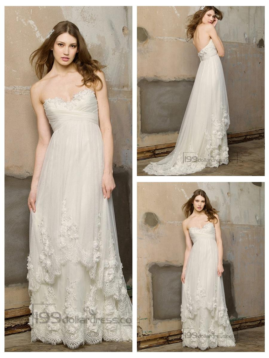 Свадьба - Floor Length Strapless Criss-cross Sweetheart Droped Empire Wedding Dresses