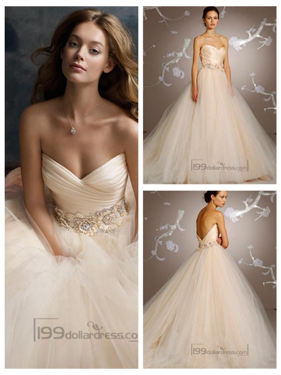 Hochzeit - Blush Romantic Tull Sweetheart Bridal Ball Gown with Floral Jewel Band