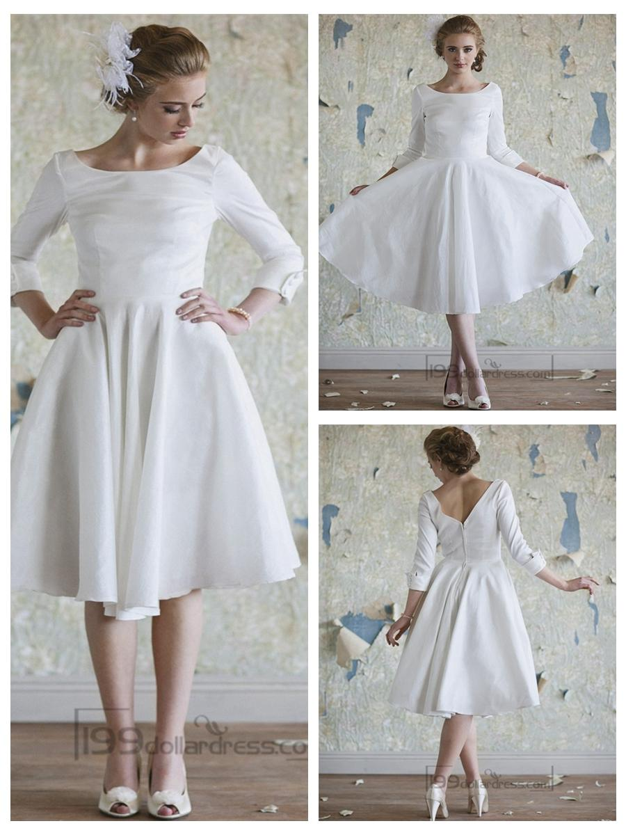 Classic Vintage A-line 3/4 Length Sleeves Tea Length Wedding ...