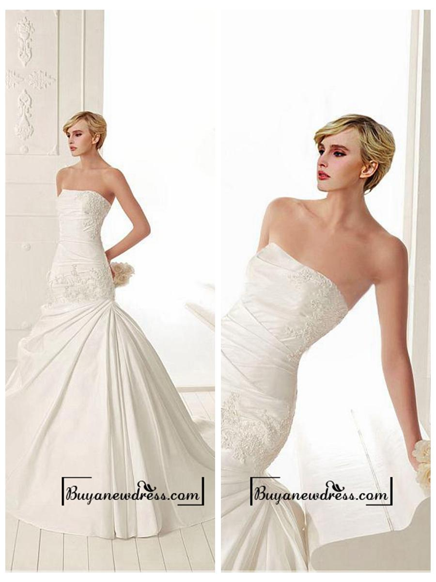 Hochzeit - Amazing Satin Mermaid Strapless Neckline Drop Waist Wedding Dress With Beaded Lace Appliques
