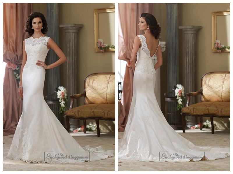 Cap Sleeves A Line Illusion Bateau Neckline Wedding