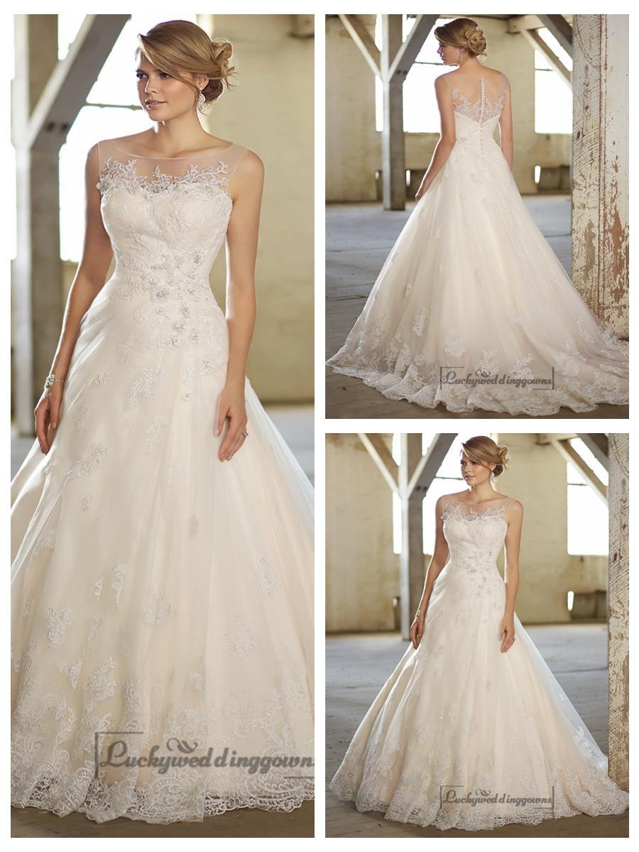 Mariage - Stunning A-line Illusion Neckline & Back Lace Wedding Dresses