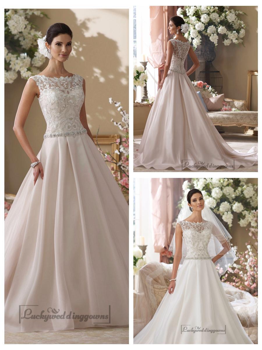 زفاف - Illusion and Scalloped Lace Bateau Neckline A-line Wedding Dresses
