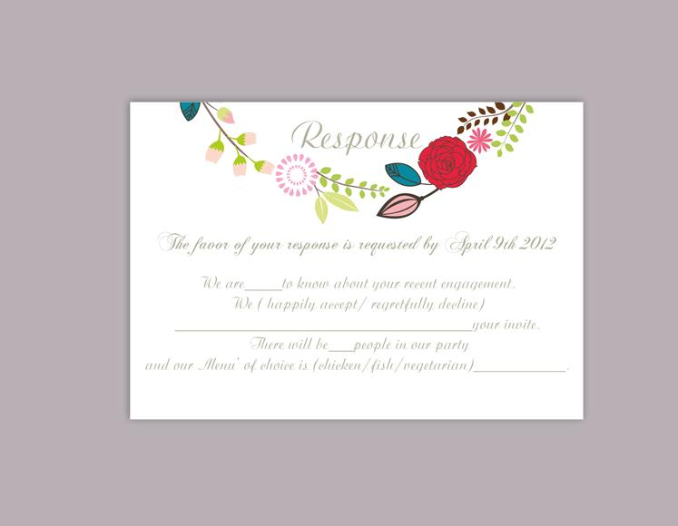 DIY Wedding RSVP Template Editable Word File Download Rsvp Template  Printable RSVP Cards Floral Coloful Red Rsvp Card Elegant Rsvp Card  Free Rsvp Card Template