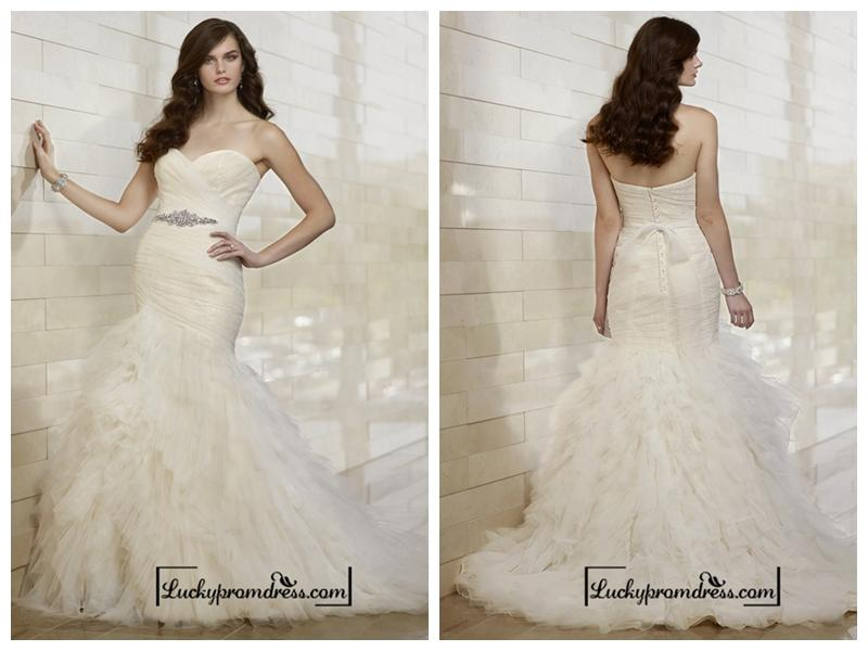 Wedding - Whimsical Fit and Flare Sweetheart Wedding Dresses with Tiered Layeres Skirt