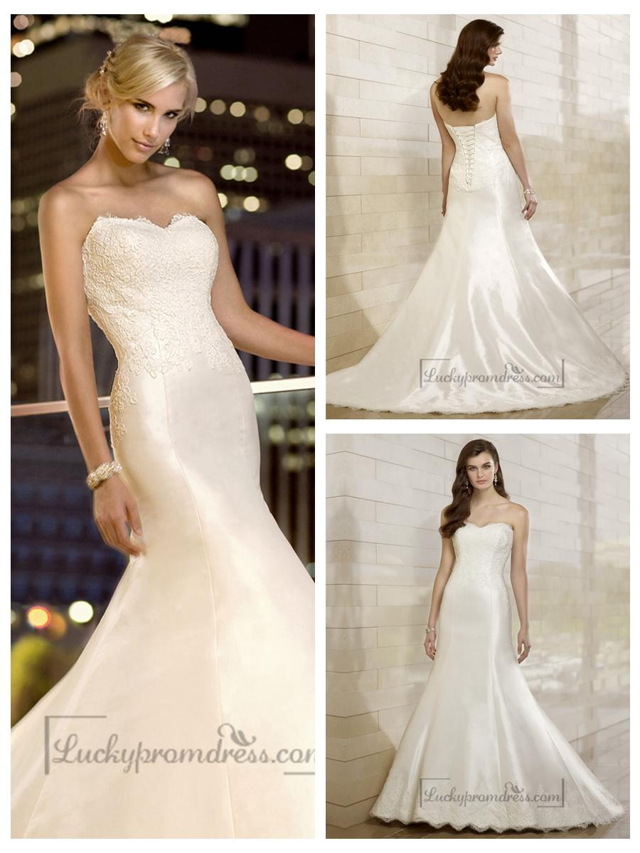 Wedding - Elegant Fit and Flare Lace Appliques Sweetheart Wedding Dresses