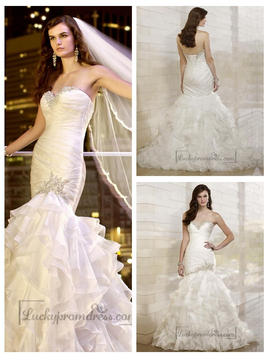 Hochzeit - Trumpet Mermaid Beaded Sweetheart Dreaped Bodice Wedding Dresses with Layered Skirt