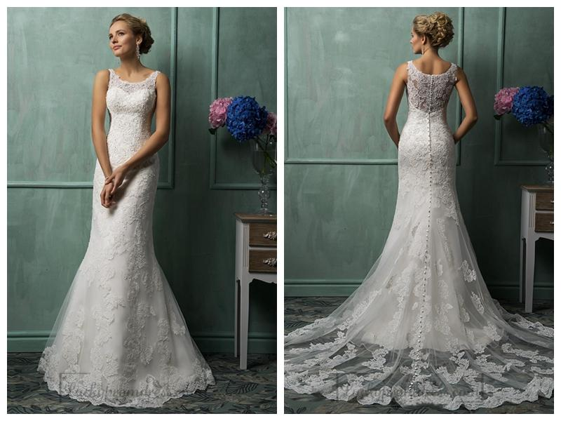 Square Neckline Lace Wedding Dresses #2454431 - Weddbook