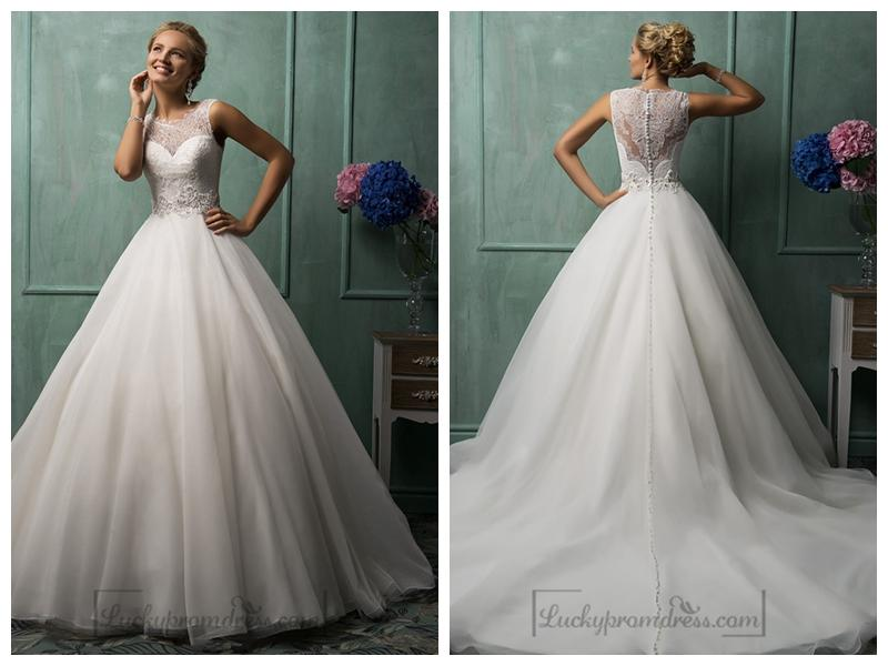 Illusion neckline a line wedding dresses featured for A line wedding dresses sweetheart neckline
