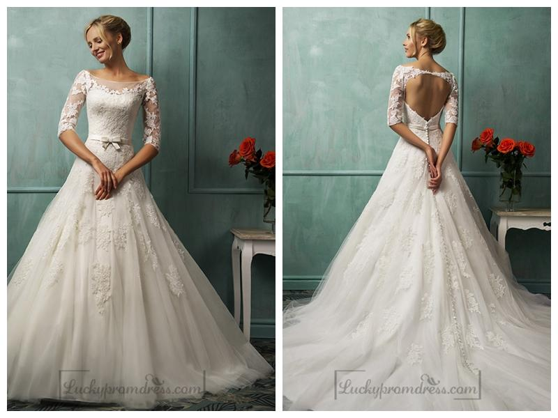 Half Sleeves Illusion Bateau Neckline A Line Lace Wedding Dress With Keyhole Back