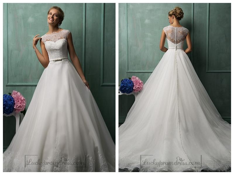 A Line Wedding Gown With Sleeves: Cap Sleeves Illusion Neckline A-line Wedding Dresses