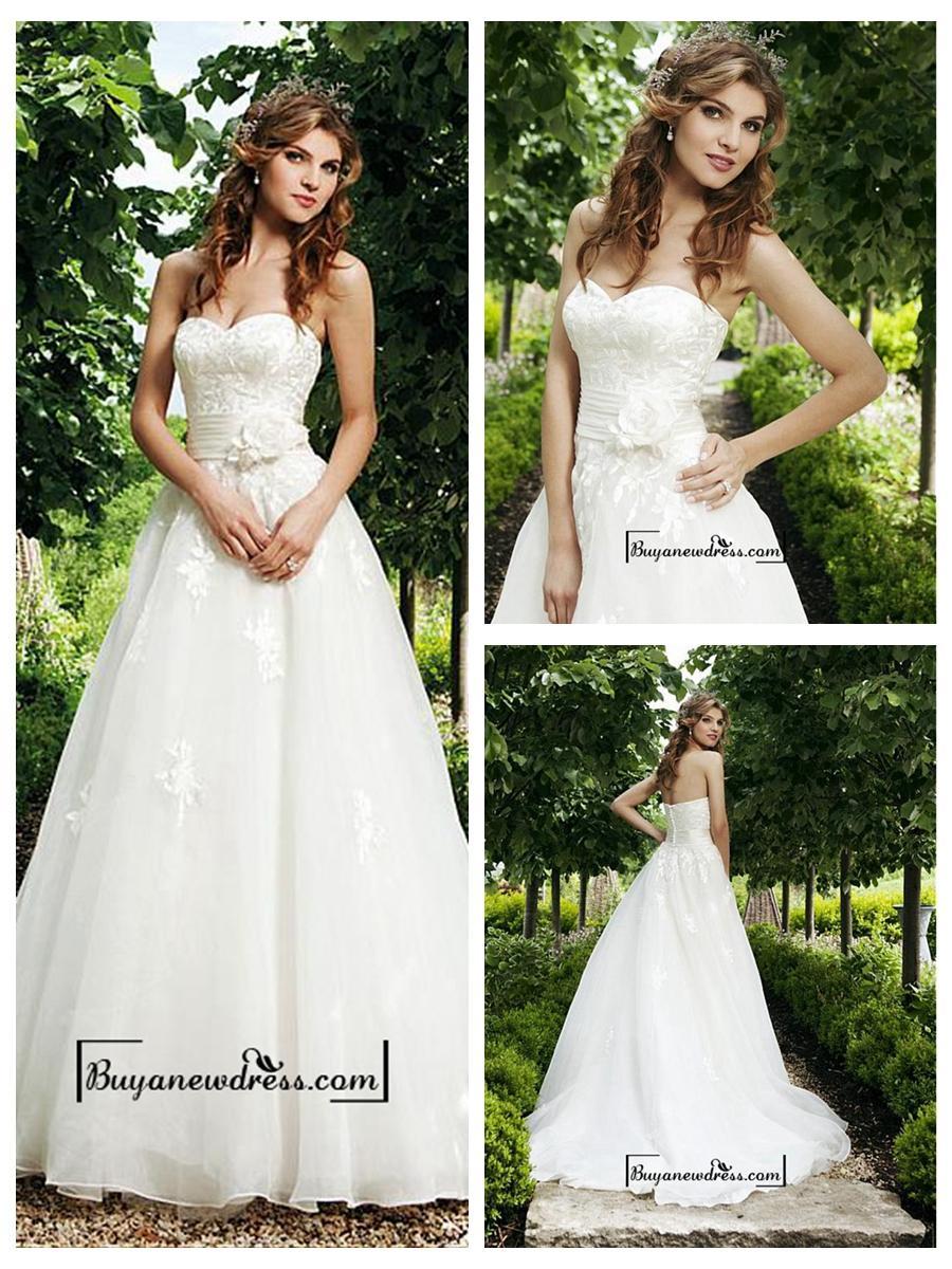 Wedding - Attractive Organza Satin A-line Sweetheart Raised Waist Wedding Dress
