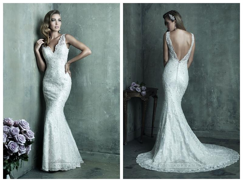 Simple Wedding Dresses With Lace Sleeves: Dreamy Lace Sheath V-neck Wedding Dresses With Deep V-back