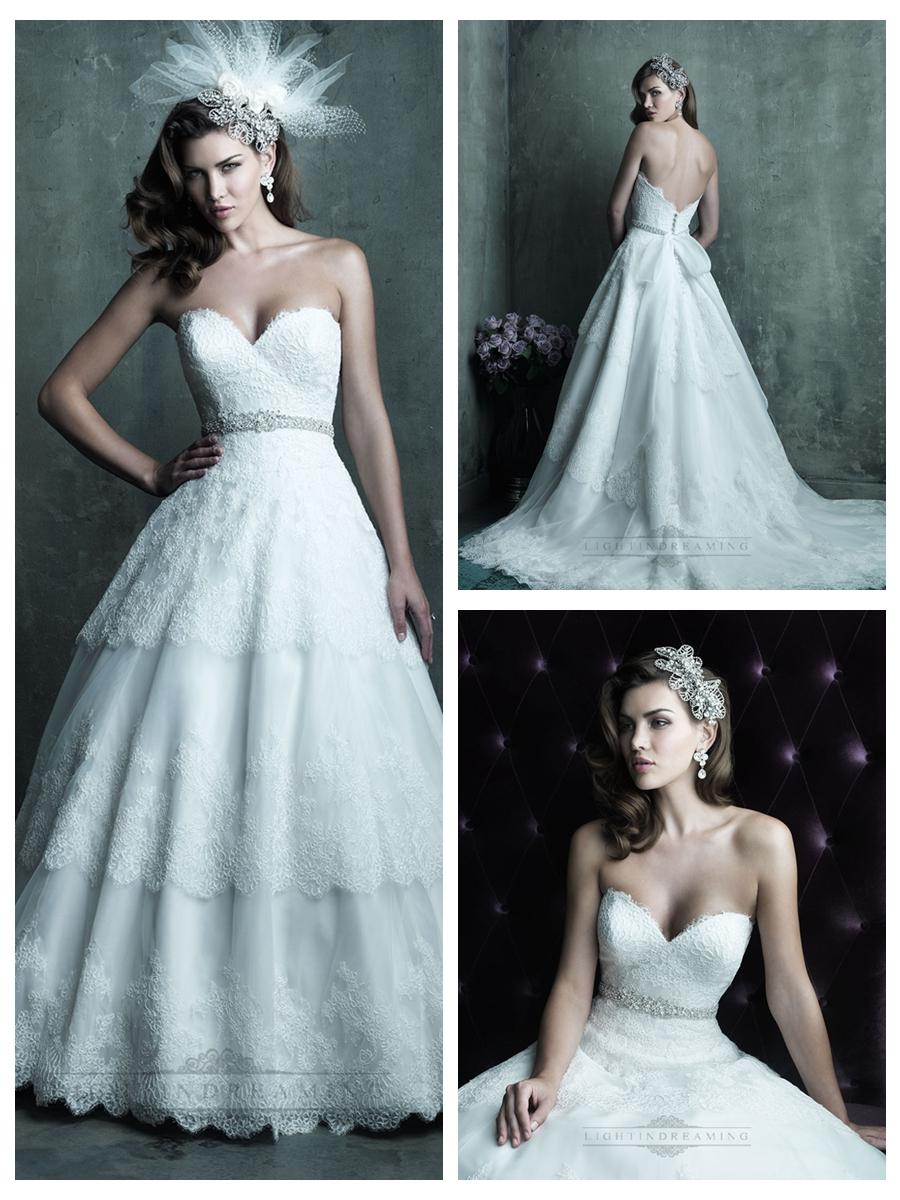 Strapless Sweetheart Lace Layered Ball Gown Wedding Dresses #2454461 ...