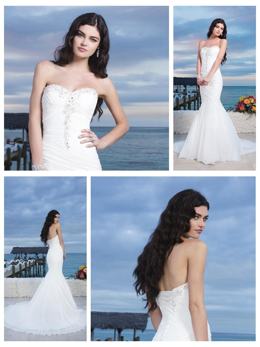 Mariage - Chiffon Center Bodice Ruched Asymmetrical Mermaid Wedding Gown With A Lace Up Back