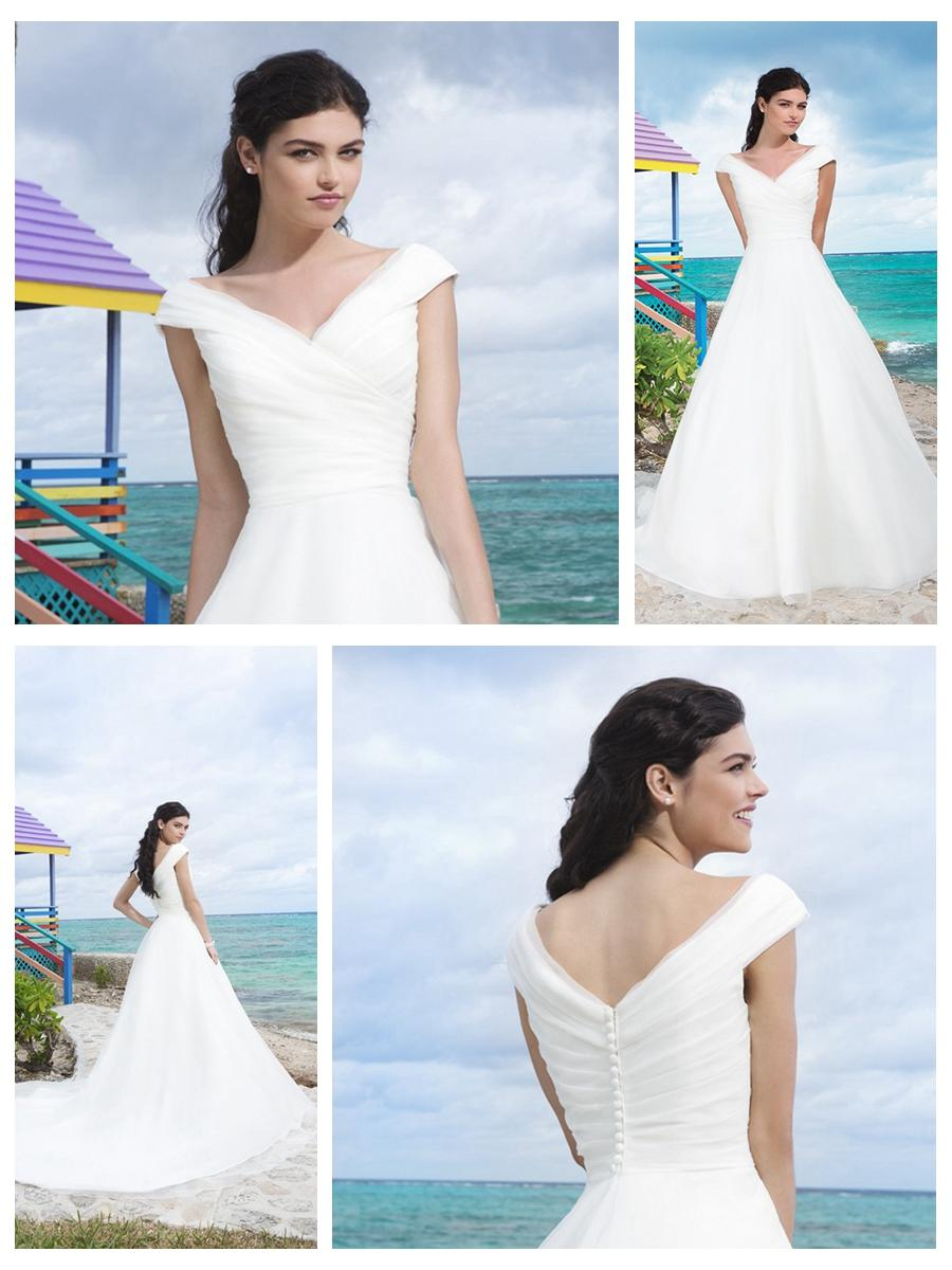 Свадьба - Organza Asymmetrical Pleated Portrait Neckline And Bodice A-Line Wedding Gown