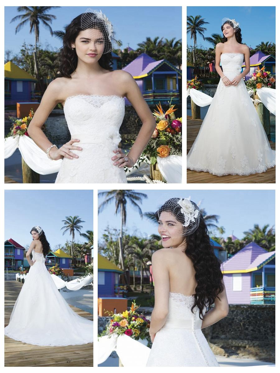Mariage - Tulle And Satin Ball Gown With Strapless Neckline And A Satin Belt