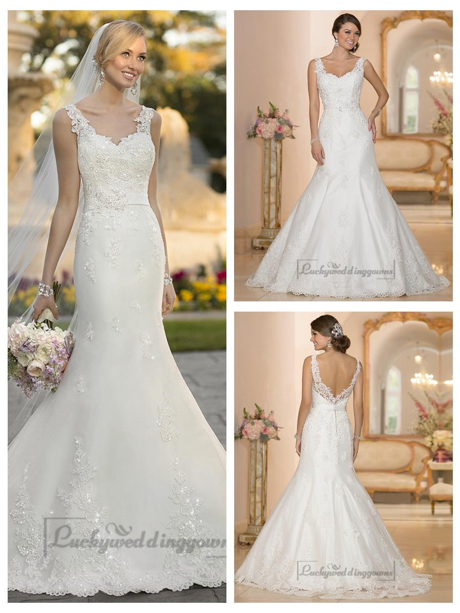 Mariage - Straps Lace Appliques Trumpet Mermaid V-back Wedding Dresses