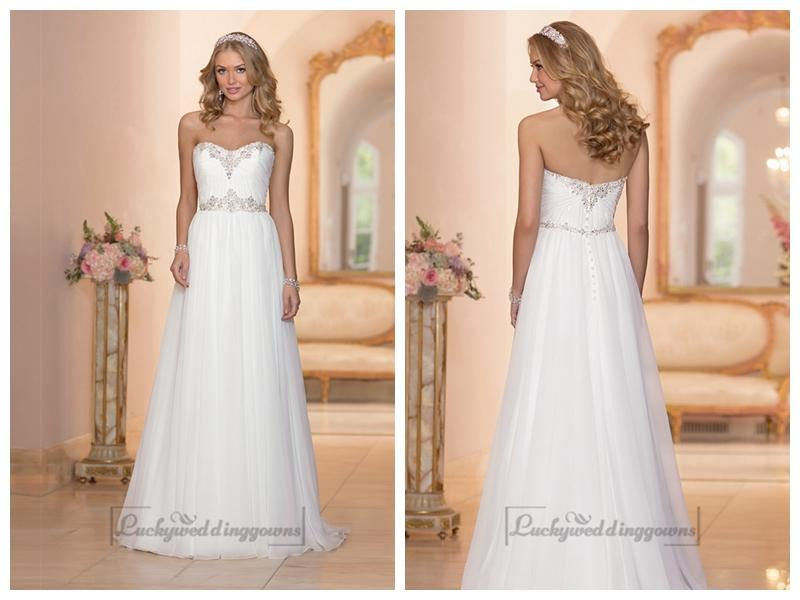 Sheath Sweetheart Beaded Wedding Dress