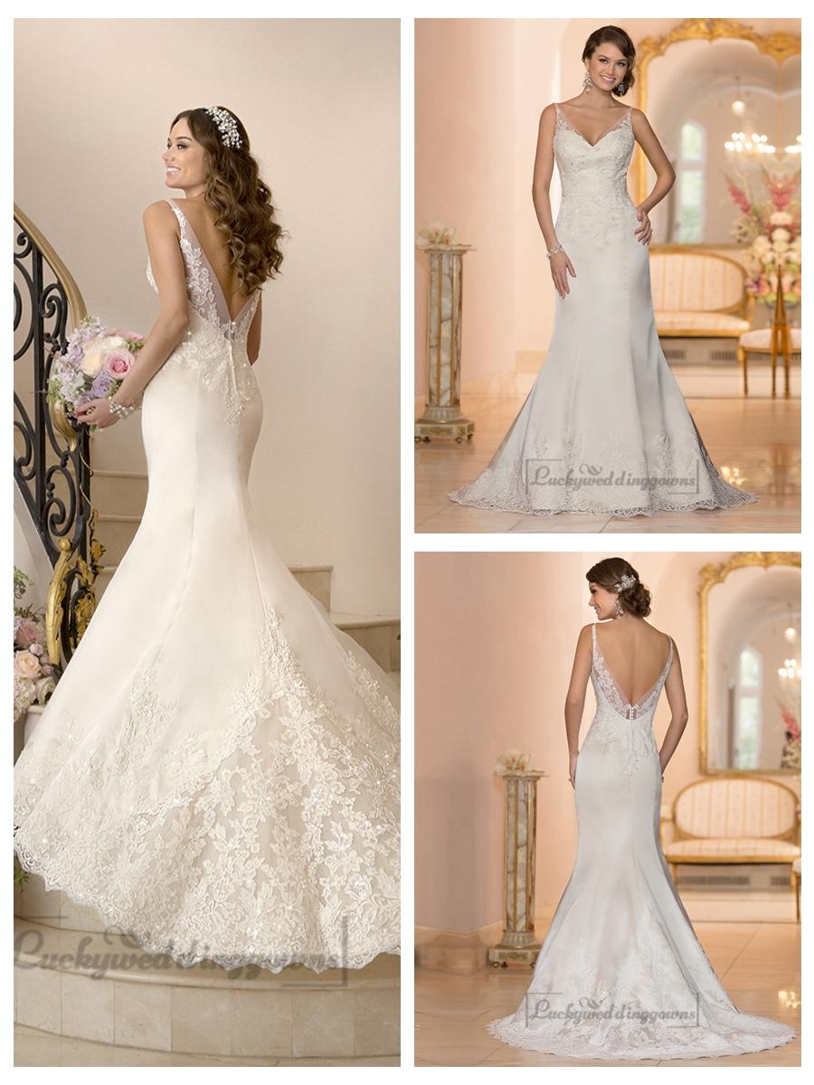 Mariage - Elegant Fit and Flare Illusion Straps Wedding Dresses with Deep V-back