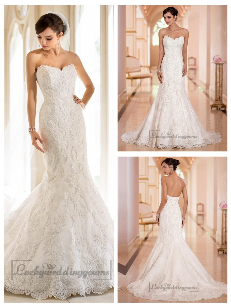 Strapless Trumpet Mermaid Sweetheart Lace Wedding Dresses #2454478 ...