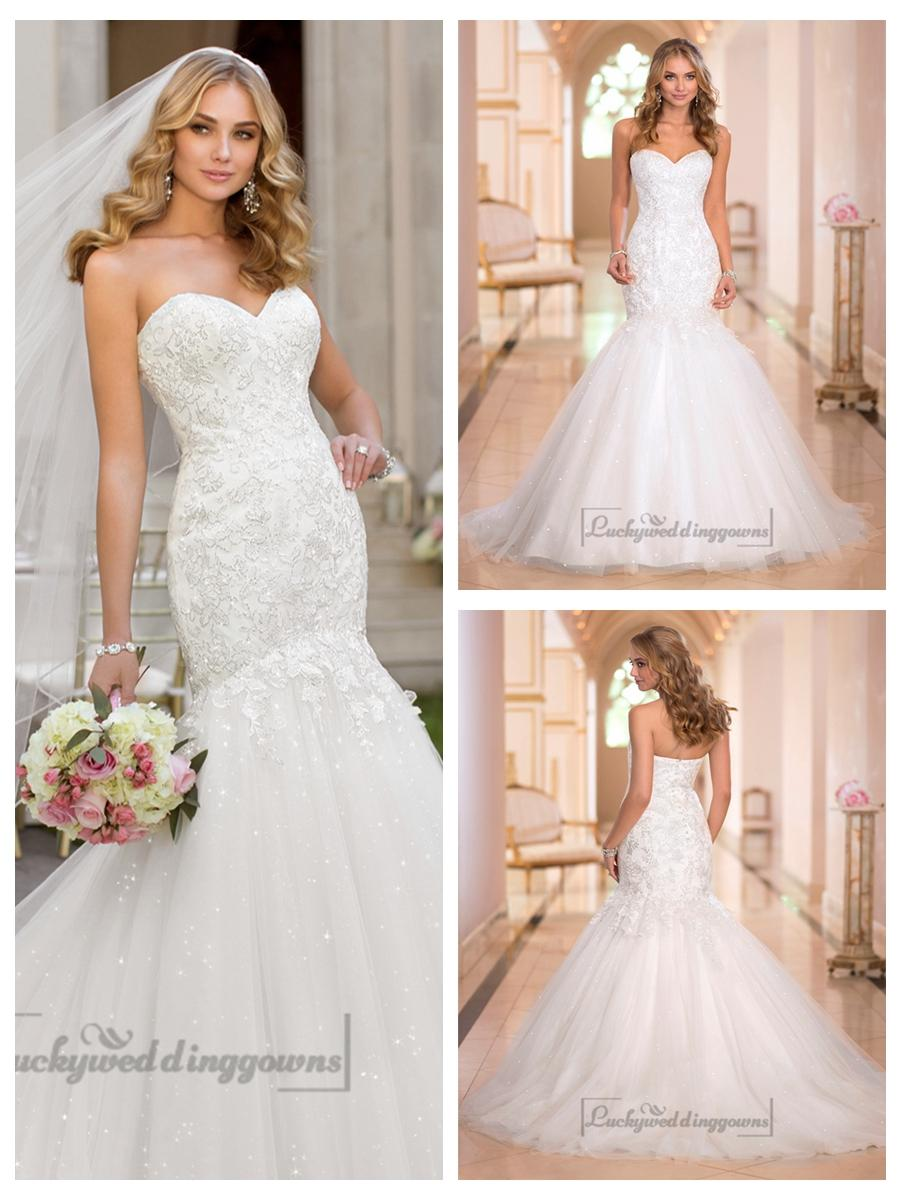 Mariage - Fit and Flare Sweetheart Lace Appliques Crystal Beaded Wedding Dresses