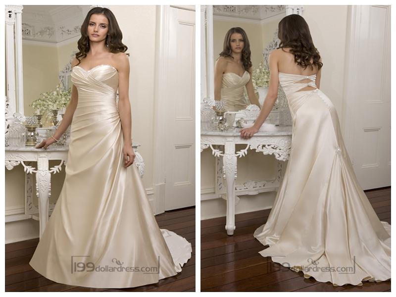 Mariage - Elegant Beaded Sweetheart Cross Bodice Wedding Dresses Featured Beaded Cutout Back