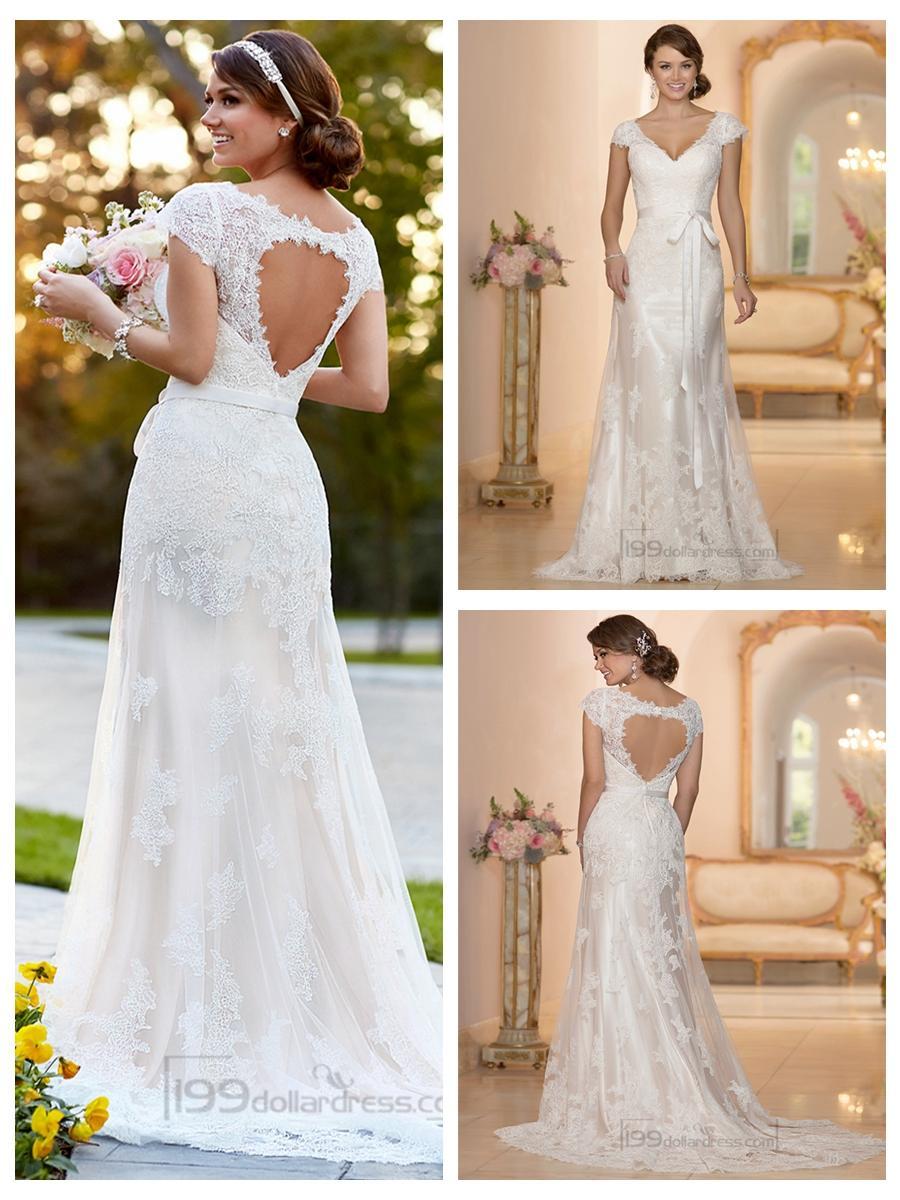 Wedding - Lace Over Illusion Cap Sleeves V-neck Wedding Dresses with Keyhole Back