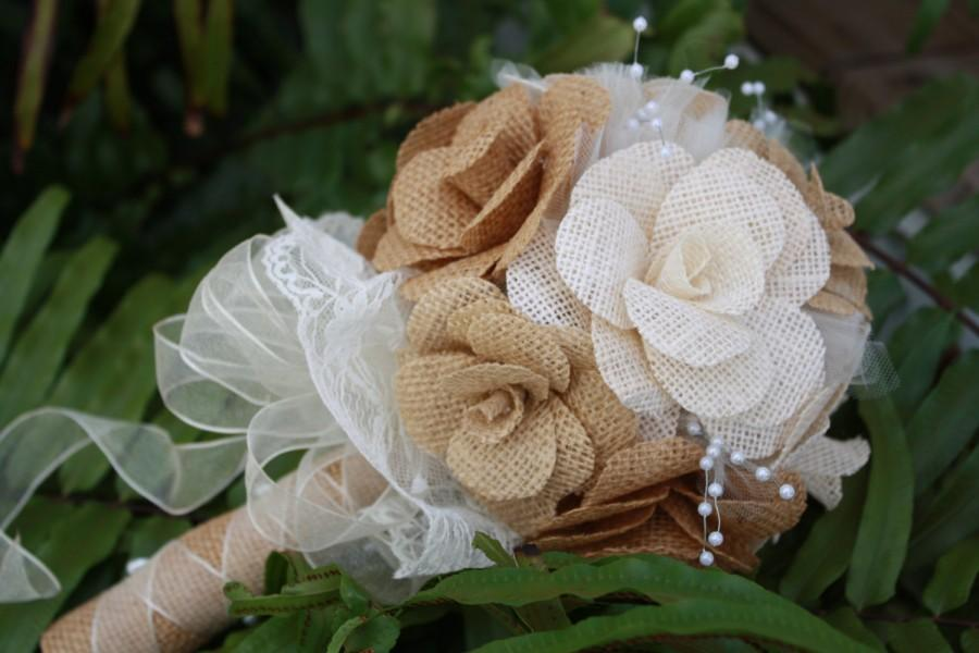 زفاف - Burlap Bridal Bouquet / Burlap Bridesmaid Bouquet /  Alternative Bouquet / Burlap and Lace Bouquet - Rustic, Country, Outdoor Wedding Decor
