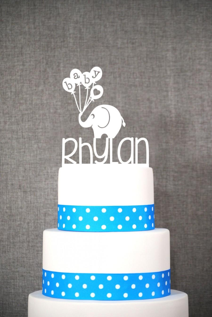 زفاف - Custom Baby Name Topper With Elephant - Baby Cake Topper- (S060)