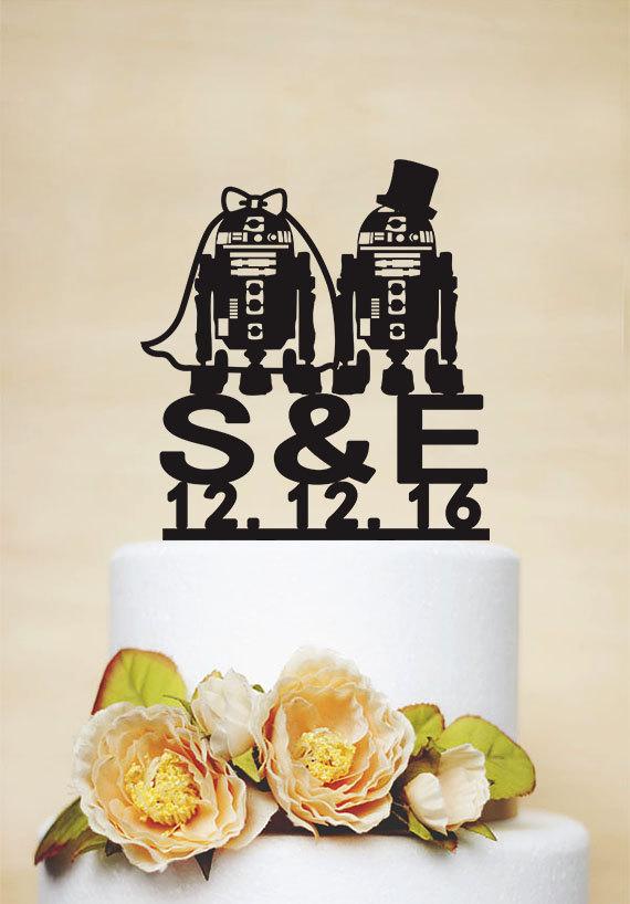 Свадьба - Wedding Cake Topper,Robot Cake Topper,StarWar Cake Topper,R2D2 Cake Topper, Initial Cake Topper,Personalized Cake Topper-I031