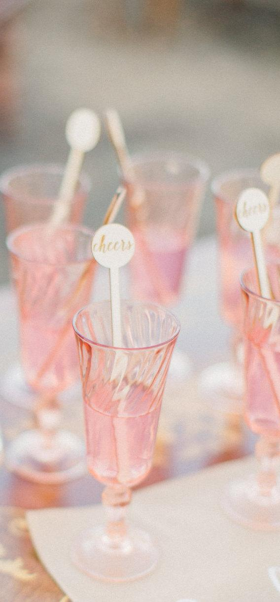 زفاف - Cheers Wood Swizzle Sticks,Drink Stirrer,Stir Sticks,Perfect Weddings, Bridal Shower,Engagement Party, Cocktails,Bachelorette,Laser Cut,6 Pk