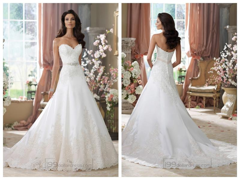 Boda - Strapless Sweetheart A-line Lace Appliques Wedding Dresses