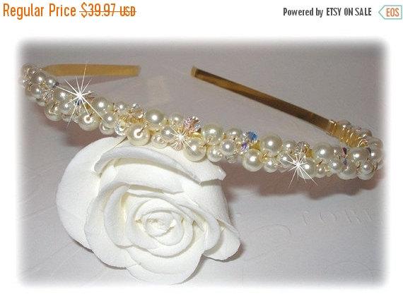 Mariage - ON SALE 15% OFF Swarovski Crystal Pearl Tiara Headband Head Band Crown Beaded Bridal Wedding Formal Prom Hair Accessories