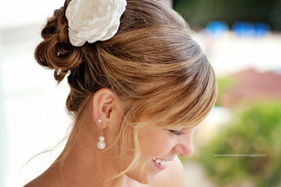 Mariage - Alissa ivory bridal wedding hair flowers, ivory bridal hair accessories, ivory hair flower