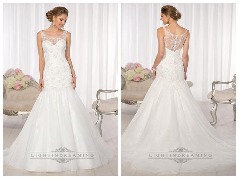 Mariage - Mermaid Lace Applliques Illusion Bateau Neckline and Back Vintage Wedding Dresses