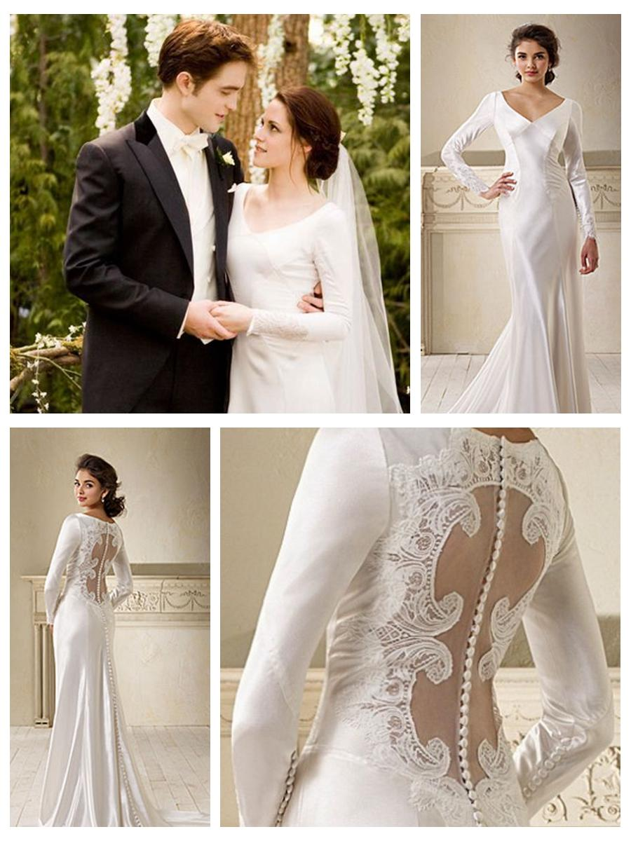 Superb Long Sleeves Button Cut Out Back Lace Embellishments Wedding Dress