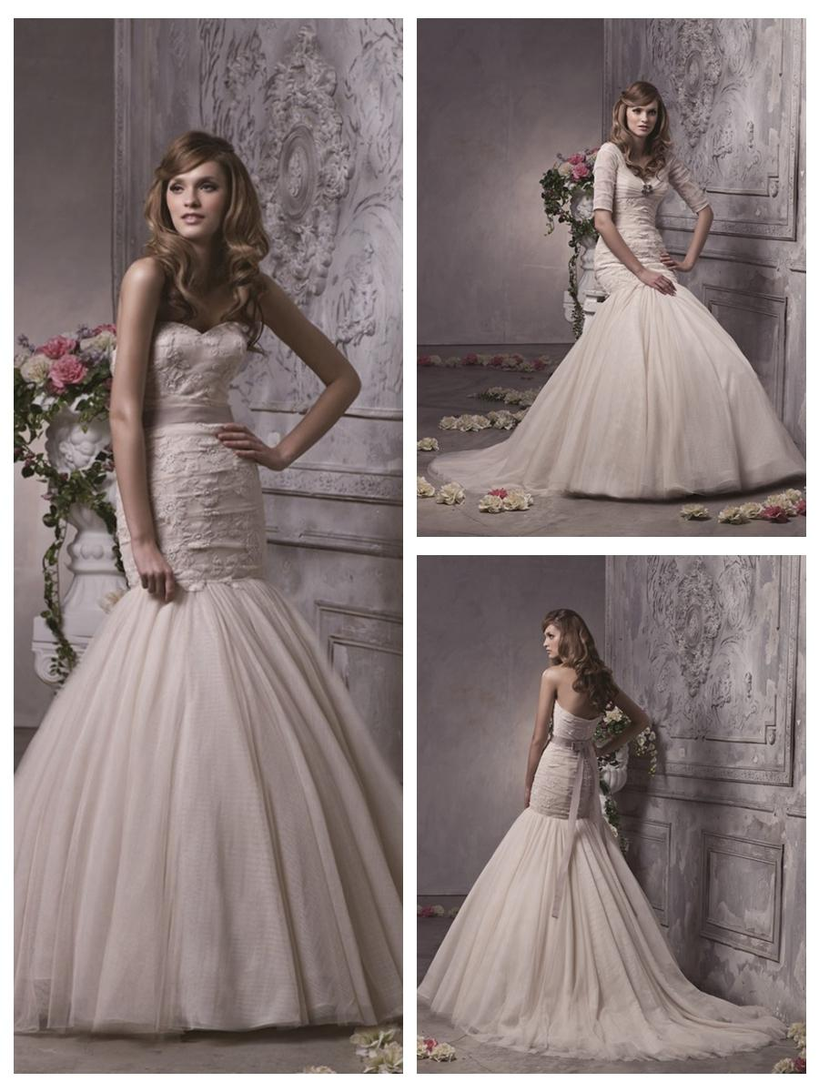 Fit And Flare Trumpet Champagne Waist Bow Band Sash Lace Tulle Wedding Dress 2454563