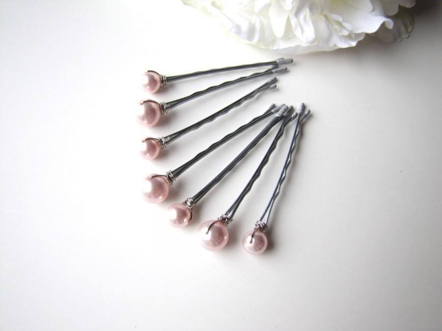 Свадьба - Pale Pink Hair Pin Pearls, Mixed Sizes Set of 7