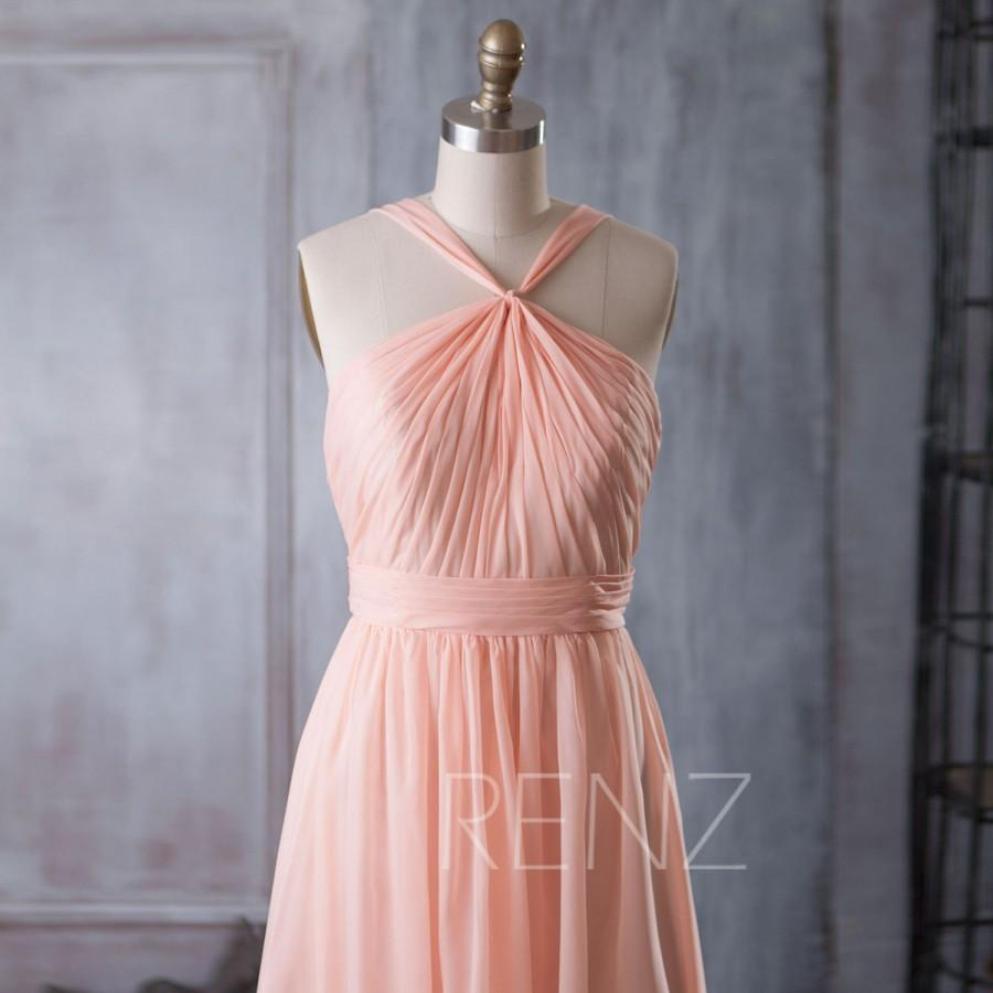 2015 Peach Bridesmaid Dress, Halter Cocktail Dress, Short Wedding ...