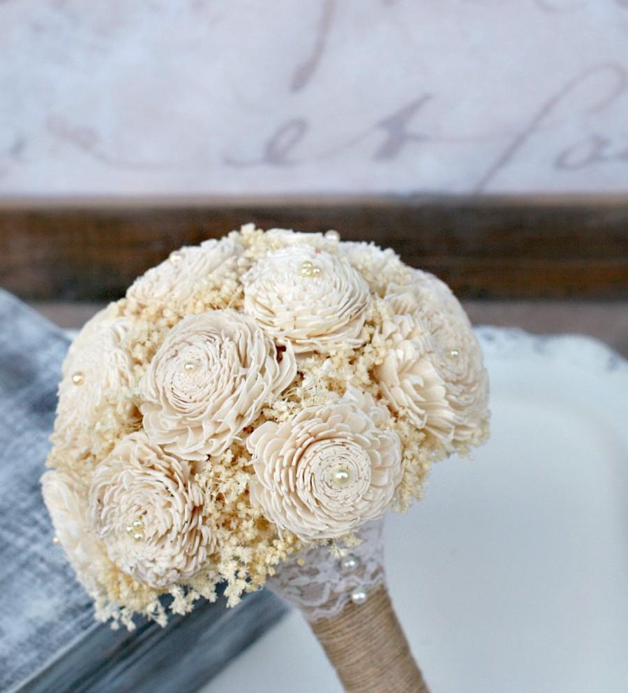 Свадьба - Ready to Ship! Everlasting Wedding Flowers - Bridesmaid Bouquet, Medium Bouquet, MoH Bouquet, Small Bride's Bouquet, Sola Wood, Babys Breath
