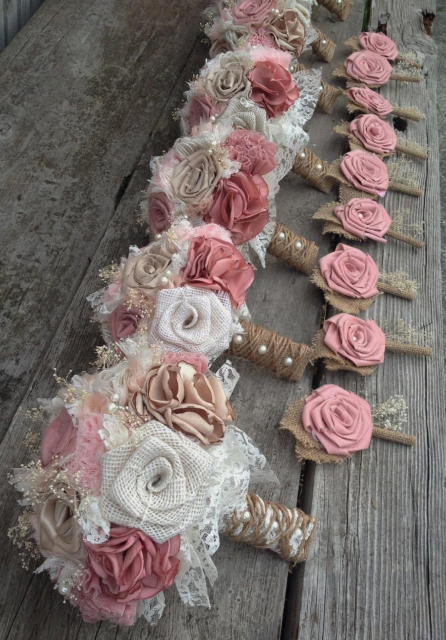 Shabby chic blush pink and champagne silk with ivory burlap wedding shabby chic blush pink and champagne silk with ivory burlap wedding bouquets listing is for one bridal bouquet izmirmasajfo Choice Image
