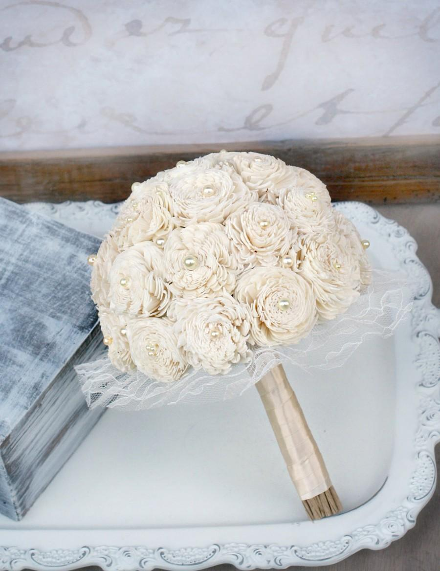 Hochzeit - Ready to Ship! Choice of Sizes - Sola Wood Mum Bridesmaids Bouquets - Cream Ivory Wedding Bouquet - Mixed Sola Wood Flowers, Pearls, Lace