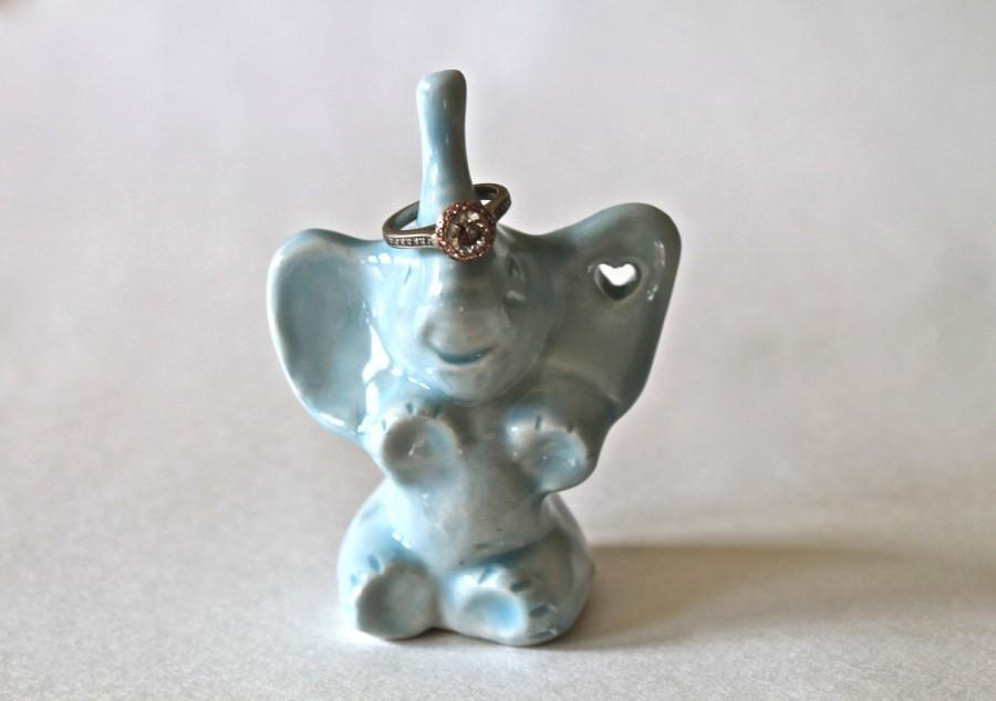 Wedding - Made to Order - Handmade Stoneware Elephant Ring Holder with Heart Cut Out -  Personalized ring holder - Blue Lagoon Elephant Ring Holder -