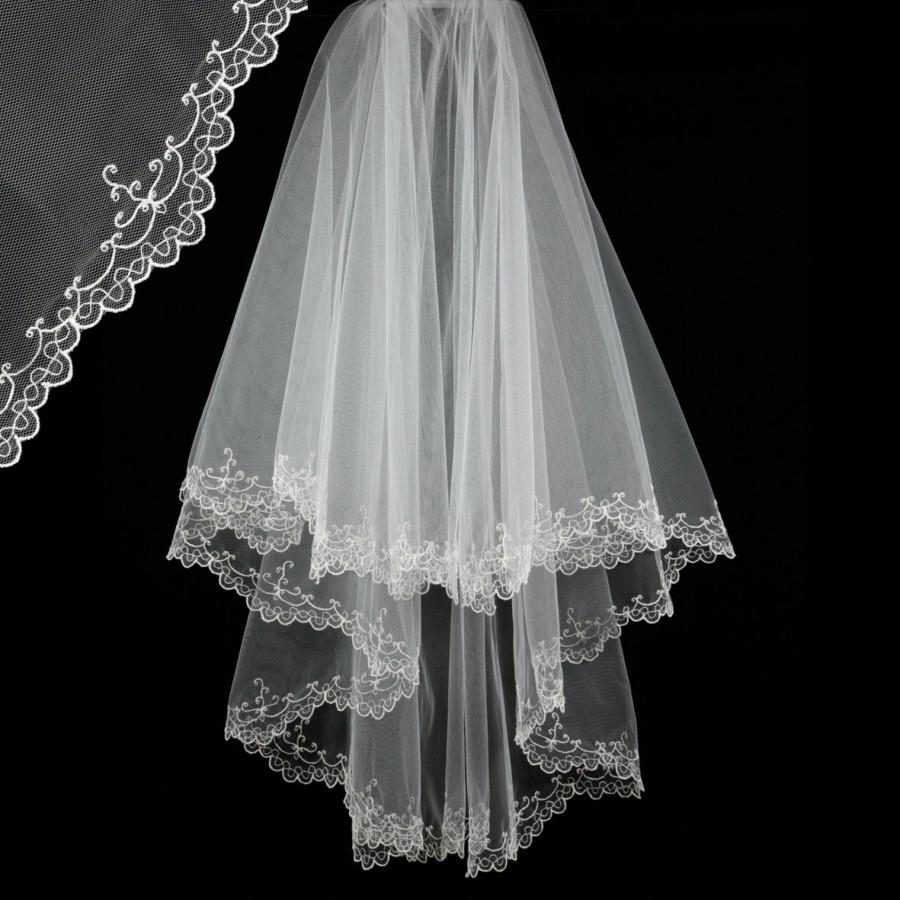 Hochzeit - Bridal Veil with Embroidery - Maya Wedding Veil-Bridal Accessories-Drop Veil-Lace Veil-Two Layers-Cascade Veil - Voile de Mariée Dentelle