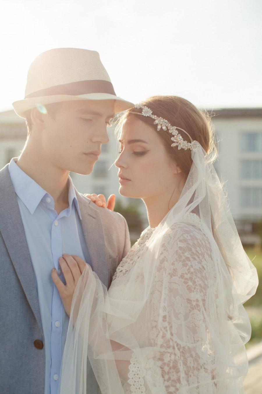 Hochzeit - Silk Tulle Veil - Bridal Veil - Ivory Wedding Veil - Mantilla Veil - Floor Length Veil - Lace Edged Bridal Veil - MABEL