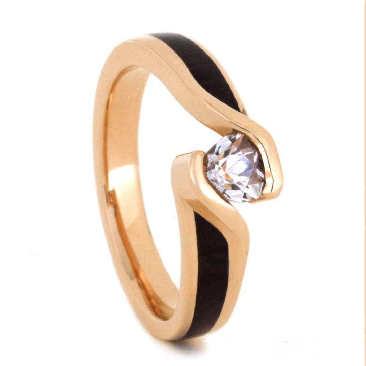 Hochzeit - Wood Engagement Ring in 14k Rose Gold with Tension Set Diamond